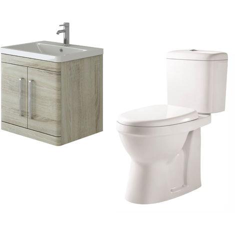 VeeBath Ceti 600mm Wall Hung Oak Vanity Basin Cabinet Unit & Verona Toilet Set