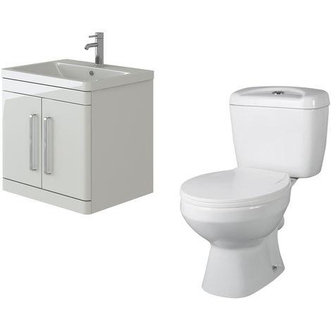 VeeBath Ceti 600mm Wall Hung White Vanity Basin Cabinet Unit & Base Toilet Set