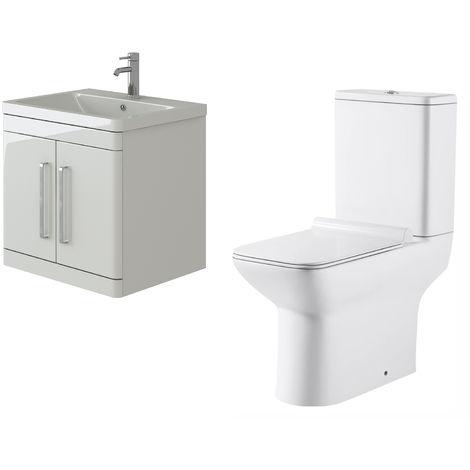 VeeBath Ceti 600mm Wall Hung White Vanity Basin Cabinet Unit & Geneve Toilet Set
