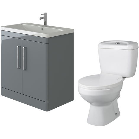 VeeBath Ceti 800mm Floor Grey Vanity Basin Cabinet Unit & Base Toilet Set