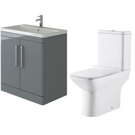 VeeBath Ceti 800mm Floor Grey Vanity Basin Cabinet Unit & Geneve Toilet Set