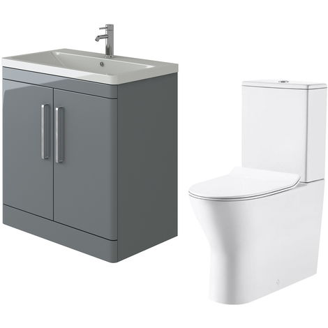 VeeBath Ceti 800mm Floor Grey Vanity Basin Cabinet Unit & Milan Toilet Set