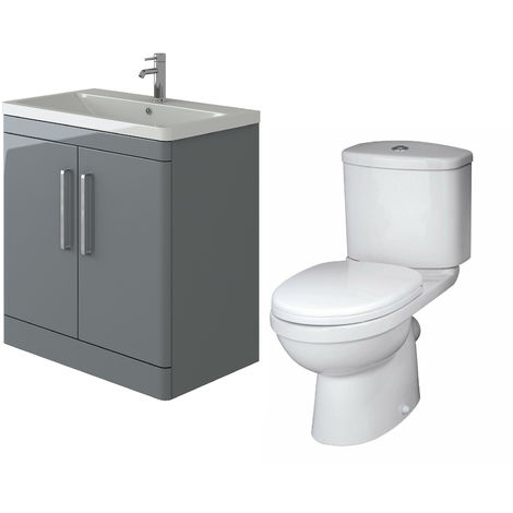 VeeBath Ceti 800mm Floor Grey Vanity Basin Cabinet Unit & Sleek Toilet Set