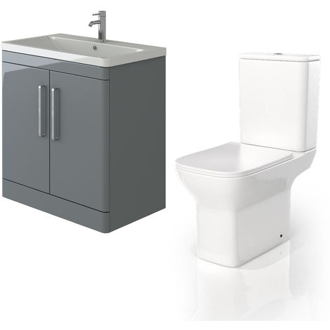 VeeBath Ceti 800mm Floor Grey Vanity Basin Cabinet Unit & Venice CC Toilet