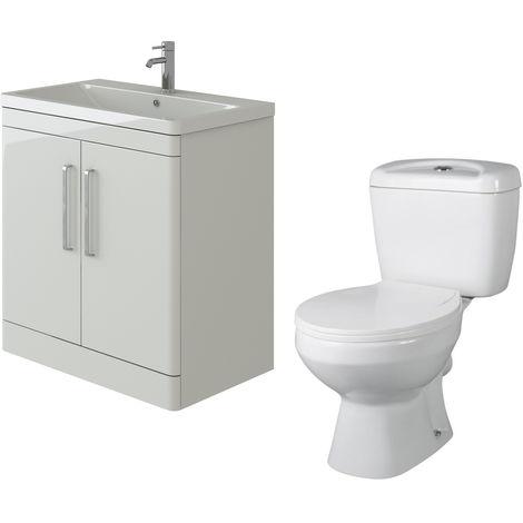 VeeBath Ceti 800mm Floor White Vanity Basin Cabinet Unit & Base Toilet Set