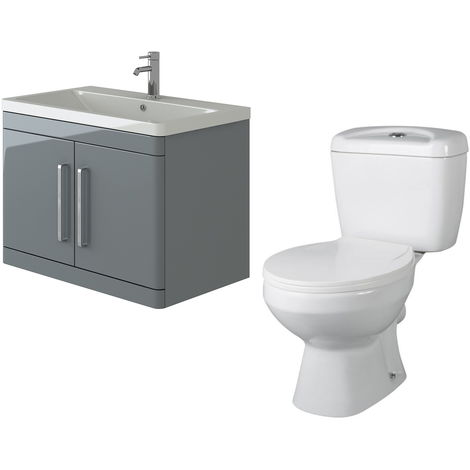 VeeBath Ceti 800mm Wall Hung Grey Vanity Basin Cabinet Unit & Base Toilet Set
