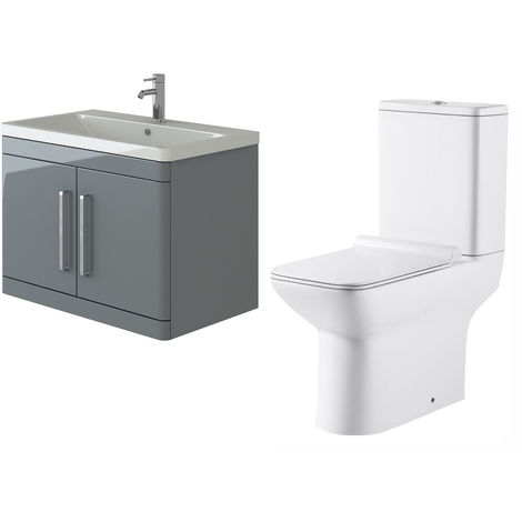 VeeBath Ceti 800mm Wall Hung Grey Vanity Basin Cabinet Unit & Geneve Toilet Set