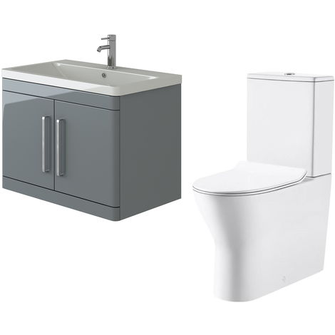 VeeBath Ceti 800mm Wall Hung Grey Vanity Basin Cabinet Unit & Milan Toilet Set