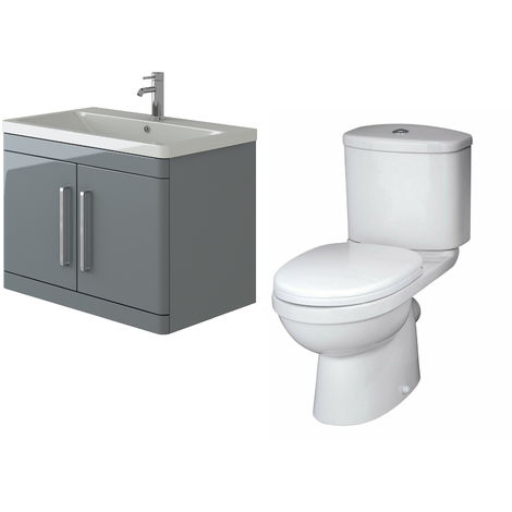 VeeBath Ceti 800mm Wall Hung Grey Vanity Basin Cabinet Unit & Sleek Toilet Set