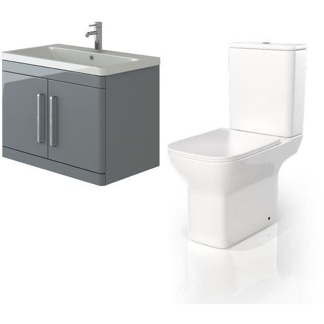 VeeBath Ceti 800mm Wall Hung Grey Vanity Basin Cabinet Unit & Venice CC Toilet