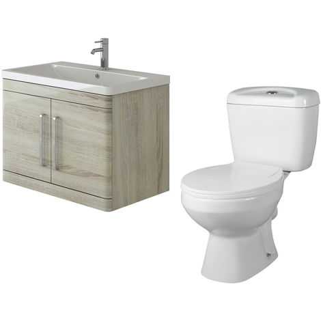 VeeBath Ceti 800mm Wall Hung Oak Vanity Basin Cabinet Unit & Base Toilet Set