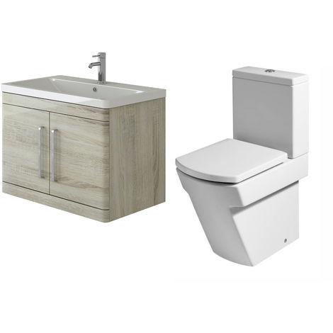 VeeBath Ceti 800mm Wall Hung Oak Vanity Basin Cabinet Unit & Elstra Toilet Set