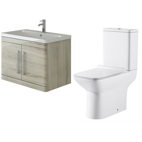 VeeBath Ceti 800mm Wall Hung Oak Vanity Basin Cabinet Unit & Geneve Toilet Set