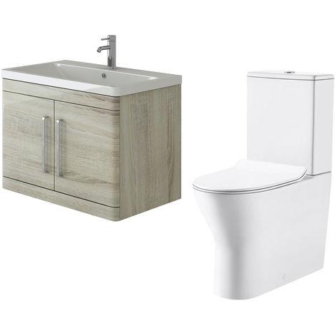 VeeBath Ceti 800mm Wall Hung Oak Vanity Basin Cabinet Unit & Milan Toilet Set