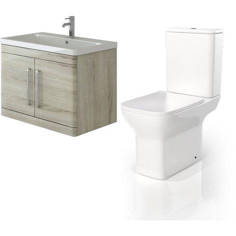 VeeBath Ceti 800mm Wall Hung Oak Vanity Basin Cabinet Unit & Venice CC Toilet