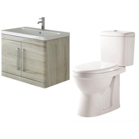 VeeBath Ceti 800mm Wall Hung Oak Vanity Basin Cabinet Unit & Verona Toilet Set