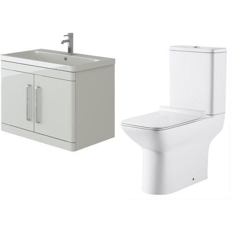 VeeBath Ceti 800mm Wall Hung White Vanity Basin Cabinet Unit & Geneve Toilet Set