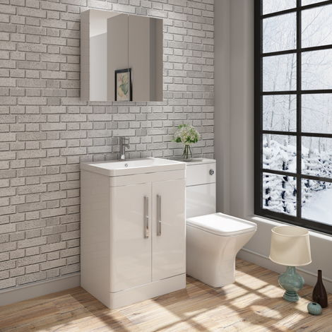 VeeBath Ceti Vanity Basin Unit & Wall Mirror Cabinet Storage Furniture - 600mm