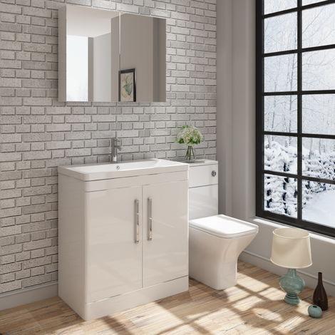 VeeBath Ceti Vanity Basin Unit & Wall Mirror Cabinet Storage Furniture - 800mm