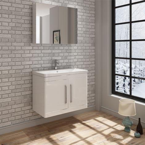 VeeBath Ceti Wall Vanity Unit & Wall Mirror Cabinet Storage Furniture - 800mm