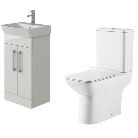 VeeBath Cosmo White Gloss 500mm Floor Vanity Basin Cabinet & Geneve Toilet Set