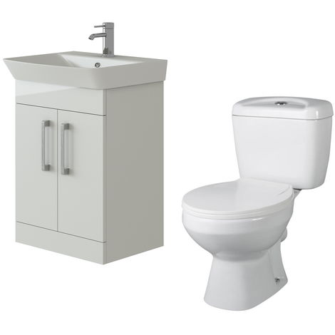 VeeBath Cosmo White Gloss 600mm Floor Vanity Basin Cabinet & Base Toilet Set