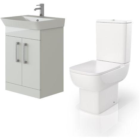 VeeBath Cosmo White Gloss 600mm Floor Vanity Basin Cabinet & Florence Toilet