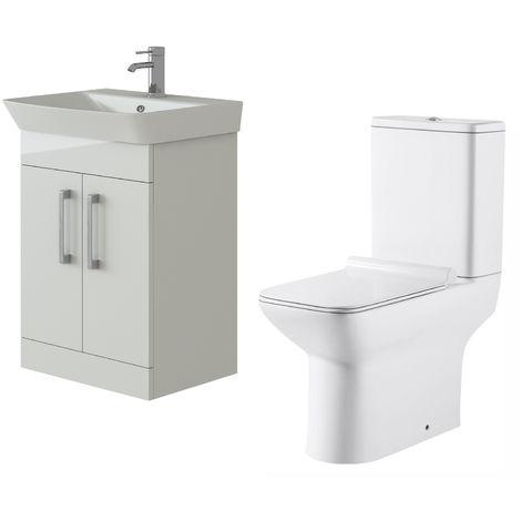 VeeBath Cosmo White Gloss 600mm Floor Vanity Basin Cabinet & Geneve Toilet Set