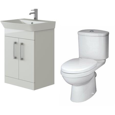 VeeBath Cosmo White Gloss 600mm Floor Vanity Basin Cabinet & Sleek Toilet Set
