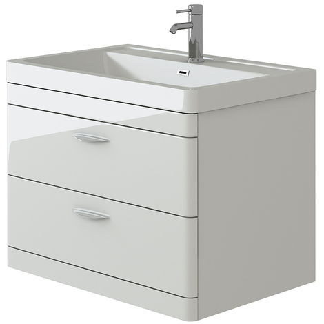 VeeBath Cyrenne White Wall Mounted Bathroom Vanity Basin Sink Cabinet - 800mm