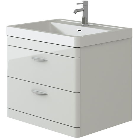 VeeBath Cyrenne White Wall Mounted Bathroom Vanity Basin Sink Cabinet - 700mm