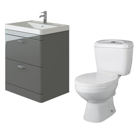 VeeBath Cyrenne Grey Floor Standing 700mm Vanity Basin Unit & Base Toilet Set