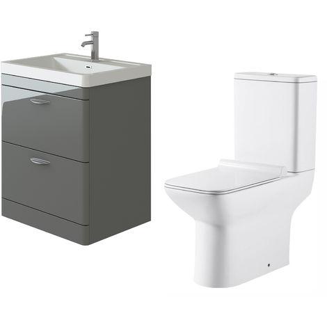 VeeBath Cyrenne Grey Floor Standing 700mm Vanity Basin Unit & Geneve Toilet Set
