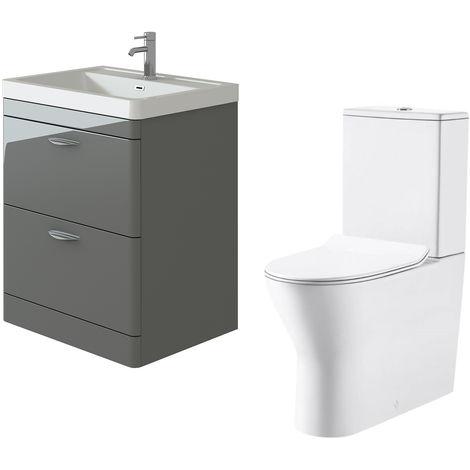 VeeBath Cyrenne Grey Floor Standing 700mm Vanity Basin Unit & Milan Toilet Set