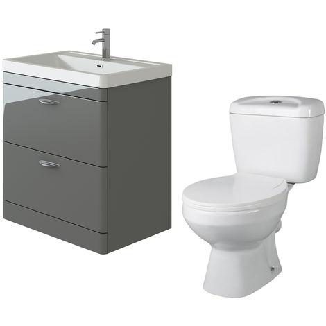 VeeBath Cyrenne Grey Floor Standing 800mm Vanity Basin Unit & Base Toilet Set
