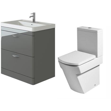 VeeBath Cyrenne Grey Floor Standing 800mm Vanity Basin Unit & Elstra Toilet Set