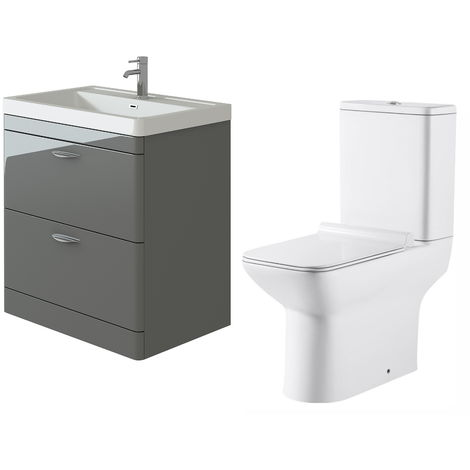 VeeBath Cyrenne Grey Floor Standing 800mm Vanity Basin Unit & Geneve Toilet Set
