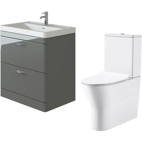 VeeBath Cyrenne Grey Floor Standing 800mm Vanity Basin Unit & Milan Toilet Set