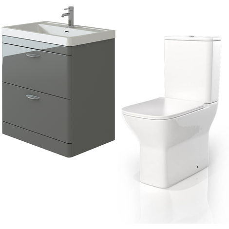 VeeBath Cyrenne Grey Floor Standing 800mm Vanity Basin Unit & Venice CC Toilet