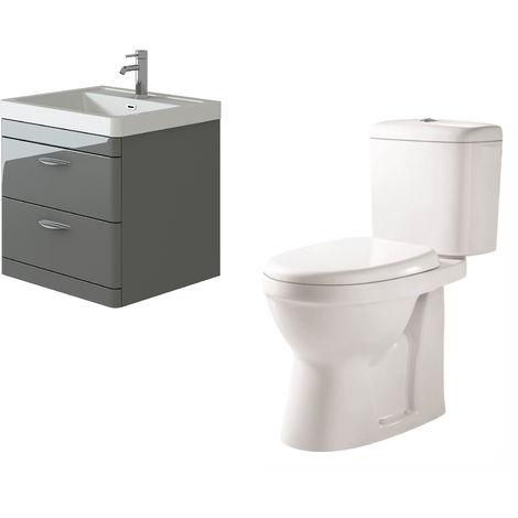 VeeBath Cyrenne Grey Wall Mounted 600mm Vanity Basin Unit & Verona CH Toilet