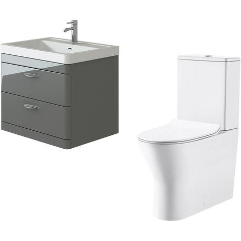 "main image of ""VeeBath Cyrenne Grey Wall Mounted 700mm Vanity Basin Unit & Milan Toilet Set"""
