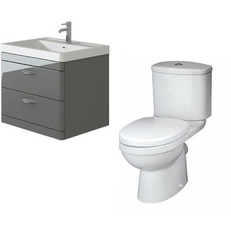 VeeBath Cyrenne Grey Wall Mounted 700mm Vanity Basin Unit & Sleek Toilet Set