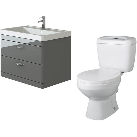 VeeBath Cyrenne Grey Wall Mounted 800mm Vanity Basin Unit & Base Toilet Set