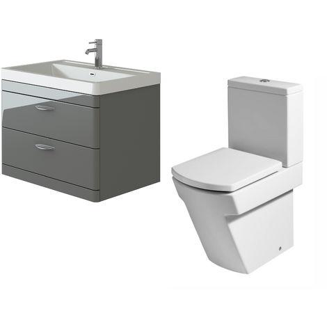 VeeBath Cyrenne Grey Wall Mounted 800mm Vanity Basin Unit & Elstra Toilet Set