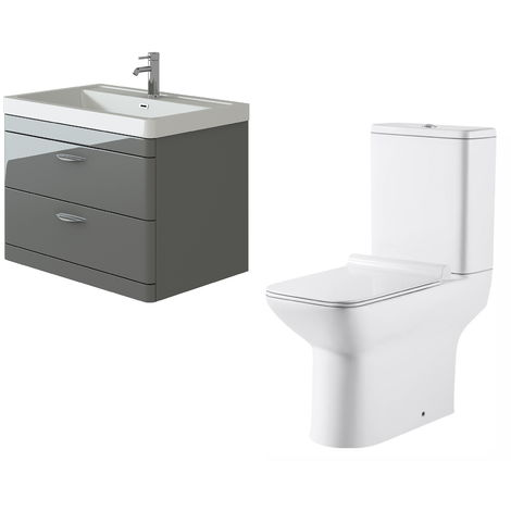 VeeBath Cyrenne Grey Wall Mounted 800mm Vanity Basin Unit & Geneve Toilet Set