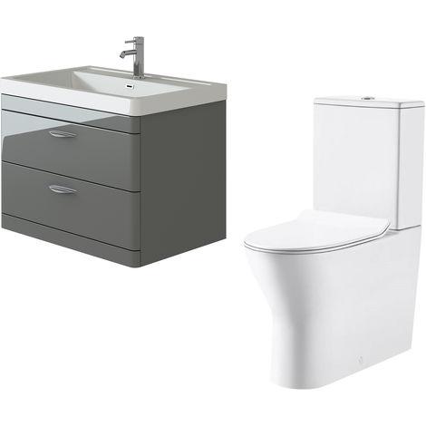 VeeBath Cyrenne Grey Wall Mounted 800mm Vanity Basin Unit & Milan Toilet Set