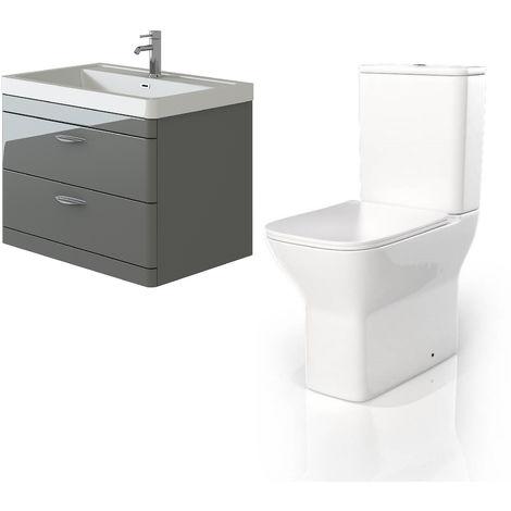 VeeBath Cyrenne Grey Wall Mounted 800mm Vanity Basin Unit & Venice CC Toilet