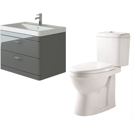 VeeBath Cyrenne Grey Wall Mounted 800mm Vanity Basin Unit & Verona CH Toilet Set