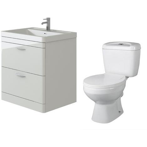 VeeBath Cyrenne White Floor Standing 800mm Vanity Basin Unit & Base Toilet Set