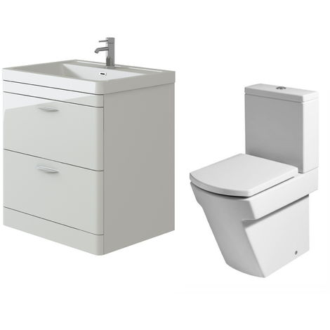 VeeBath Cyrenne White Floor Standing 800mm Vanity Basin Unit & Elstra Toilet Set